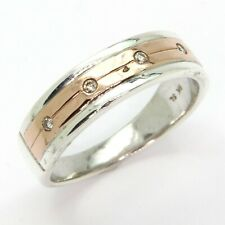 0.075cts Diamond 9ct Rose Gold & Silver Band Ring - Size M