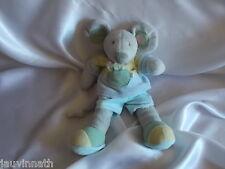 Doudou souris grise, robe bleue, grelot, Nicotoy, Blankie/Lovey/Newborn toy