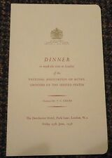 Friday 13th 1958 London England Natl Assc Retail Grocers of the US Dinner menu