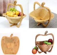 Collapsible Wood Foldable Fruit Apple Basket Folding Bamboo Fruit Bowl & Trivet