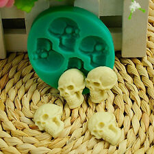 Skull Head Silicone Fondant Cake Mould Halloween Party Chocolate DIY Mold Green