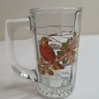 Vintage 1970's Michigan 12 Ounce Glass Beer Stein Mug Lighthouse Boat Bird Ocean