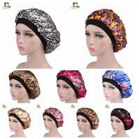 Soft Silk Satin Night Sleep Cap Hair Bonnet Hat Head Cover Wide Band Elastic