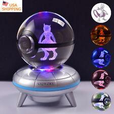 Mewtwo 3D LED Crystal Pokeball Night Light Table Desk Lamp Christmas Gift