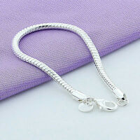 New Fashion Men Women Silver Plated Snake Chain Bangle Bracelet Jewelry Gift