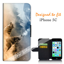 For Apple iPhone 5C Wallet Flip Phone Case Cover Howl Wolf Stars Y00763