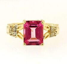 9Ct Yellow Gold Emerald Cut Flamingo Topaz & Diamond Accents (Size N 1/2) 7x9mm