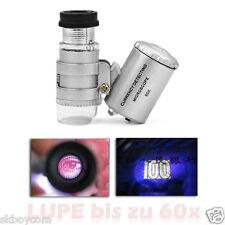 60x ingrandimento Pocket microscopio con LED & UV-LED/Astuccio in Pelle Nuovo/Scatola Originale