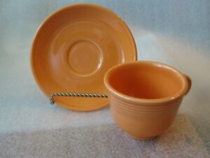 HLC FIESTA WARE   CUP AND SAUCER   Orange   set of 2