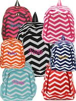 Personalized Chevron Large School Backpack Book Bag Monogram Name Embroidery