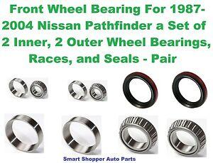 Front Wheel Bearing, Race, Seal For 1987-2004 Nissan Pathfinder - Pair