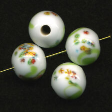 Vintage 14mm Millefiori Beads White with Lime Green Swirls 4 Pcs Made in Japan