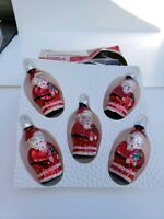 SANTA CLAUS Christmas Vintage ORNAMENTS hand decorated glass set of 5 in box