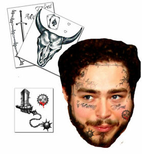 Updated 2020 Post Malone Inspired Face Temporary Tattoos Sheet