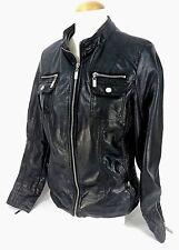 Womens Black Royalty YMI Faux Leather Biker 80's Style Jacket HEAVY DUTY Zip GUC