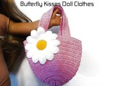 Pink Straw Daisy Beach Bag Purse 18 in Doll Clothes Fits American Girl