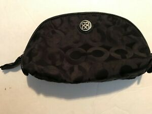 Coach Small Black Signature Cosmetic Makeup Pouch Dome Shaped Travel Bag