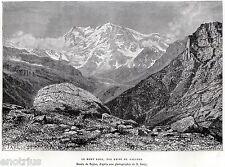 MONTE ROSA veduto da Carcoforo. Alpi Pennine.Val Sermenza.Valsesia.Vercelli.1876