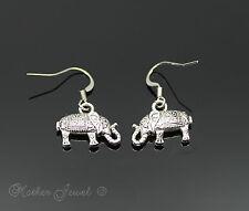 Girls Ladies Womens Drop Earrings Adorable Lucky Elephant Silver Sp Dangle