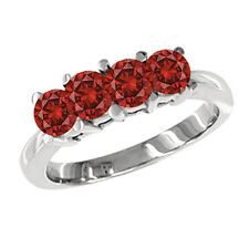 1 Carat Red SI2 Round Diamond Solitaire Ring14K White Gold Valentineday Spl.Sale