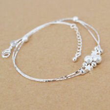 Silver Plated Anklet Bracelet Girls Beads Jewelry Beach Sandal New Foot Chain