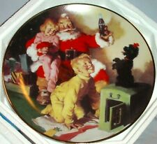 "Franklin Mint 1995 Coca Cola Santa ""A Toast To The Season"" Plate 8"" Ha6589"