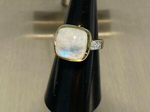 925 Silber Ring Mondstein & Blautopas  Gr 17 x Traumhaft schön x