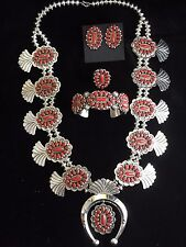 Blood Red Mediterranean Coral Squash Blossom SSilver Necklace Set Navajo ERBegay