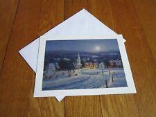Randy Van Beek Winter Moonlight Christmas Card Unused Church Snow Moon