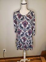 Mountain Mamas Size Large Women's Tunic Top Paisley Peplum Hem Knit Shirt