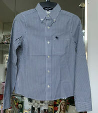 Abercrombie Kids Boys XL Muscle Fit Button Down Shirt Blue/White Stripes Pocket