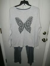 Womens NWT Pajama Set Plus Size LS Top/Pull-On Pants Gray Butterfly 3X blue