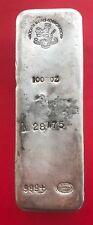 Johnson Matthey JM Scotiabank Mocata Metals 100 oz .999 Silver Poured Bar