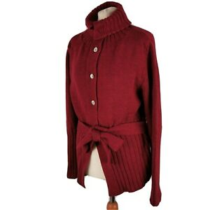NEW TOAST XL 16 Burgundy Red Cardigan High Neck Belted Merino Extrafine Wool