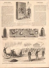 Plating Obus Gun Woolwich England Exposition Universelle GRAVURE OLD PRINT 1867