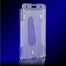 Utility Vertical Hard Plastic Badge Holder Double Card ID Transparent Clear
