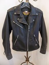 HARLEY DAVIDSON WOMENS BLACK LEATHER MOTORCYCLE BIKER RIDING JACKET S USA