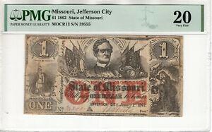 1862 $1 STATE OF MISSOURI JEFFERSON CITY OBSOLETE NOTE PMG VERY FINE VF 20 (079)