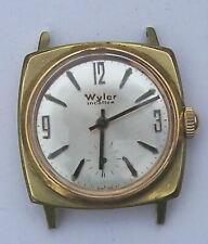 Wyler Incaflex mens water resistant sub-second windup watch runs gold tone