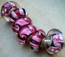 Cranberry RED White Paisley Swirls Single Core European Murano Glass Charm Beads