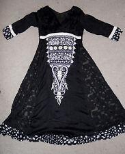 vintage black sheer gauze heavily embroidered Indian maxi festival dress L