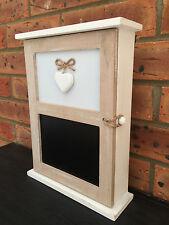 Wooden Key Box Cupboard Rustic Heart Shabby Vintage Chalk Board Message 6 Hooks