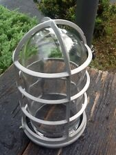 "Vintage Industrial Large Safety Metal Light Cage W/ Glass 8 1/2"" Globe - Nice"