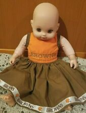 """Cloth & Plastic Baby Doll Cleveland Browns Football Dress Outfit Toy 15"""" Doll"""