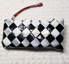 Nahui Ollin Wristlet Clutch Wrapper Purse Black White Red Handmade