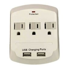 Topzone 3 AC Outlet Wall Mount Surge Protector Adapter with Dual USB Charging