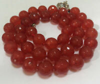 "Natural! 10mm Faceted Ruby Round Beads Gemstone Necklace 18"" JN953"