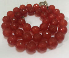 """Natural! 10mm Faceted Ruby Round Beads Gemstone Necklace 18"""" JN953"""