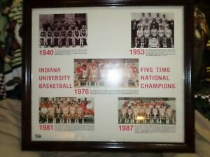 FRAMED 22X25 PICTURE INDIANA HOOSIER  1940,1953,1976- 81,87,ALL 5 NAT CHAMPS