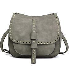 Women Designer Suede Cross Body Shoulder Saddle Bag Fashion PU Leather Satchel